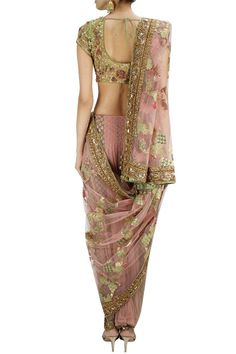 Light pink and green brocade dhoti sari set available only at Pernia's Pop-Up Shop.: