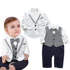27a79c81df373 Gentleman bébé garçon vêtements blanc manteau + rayé barboteuses vêtements  set nouveau né costume de mariage dans Vêtements Ensembles de Mère et  Enfants sur ...