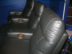 Gray leather comfy theater seats