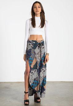 Patch Print Sarong Maxi Skirt