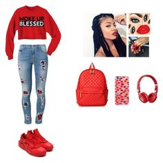 """""""Code Red"""" by luvtae ❤ liked on Polyvore featuring Ermanno Scervino, NIKE, M Z Wallace, Casetify and Beats by Dr. Dre"""