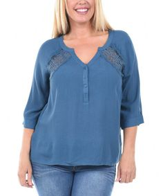 Look what I found on #zulily! Teal Mesh-Embroidered Henley - Plus #zulilyfinds