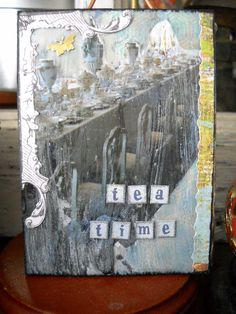 tea time #ATC (multi media, real photo, paper, beeswax, wall compound, paint)
