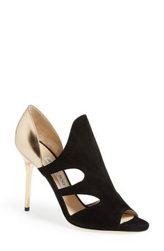 """Free shipping and returns on Jimmy Choo 'Tarine' Open Toe Pump (Women) at Nordstrom.com. <p><B STYLE=""""COLOR:#990000"""">Pre-order this style today! Add to Shopping Bag to view approximate ship date. You'll be charged only when your item ships.</b></p><br>Dramatic cutouts and a metallic stiletto heel extend the scene-stealing glamour of an open-toe Italian pump."""