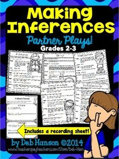Making Inferences Partner Plays to improve fluency for and graders 5 scripts with a bonus recording sheet! Perfect for Read to Someone & Daily Reading Fluency Activities, Reading Tutoring, Speech Therapy Activities, Reading Strategies, Reading Skills, Inference Activities, Classroom Language, Classroom Fun, Education And Literacy
