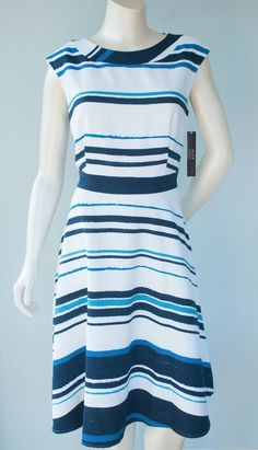 879280cd9eb NEW Alex Marie Women s Size 8 Blue  amp  White Striped Nautical Cocktail  Dress  affilink
