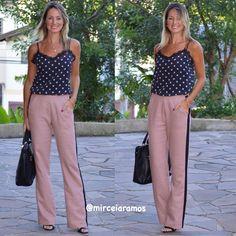 Look de trabalho - look do dia - look corporativo - moda no trabalho - work outfit - office outfit -  spring outfit - look executiva - look de verão  - summer outfit - pantalona- calça rosê - poá -listra lateral