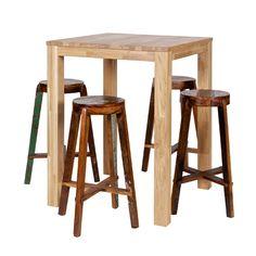 Table haute table de bar en chêne massif naturel Largo                                                                                                                                                                                 Plus