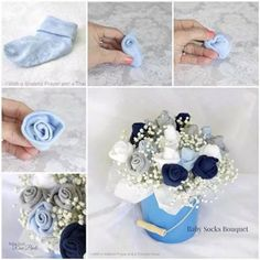 One of my best friends is expecting a baby next month. We are thinking to host a baby shower for her at the end of this month. As I was searching for baby shower gift and decoration ideas, I came across this super cute idea to make a bouquet of … Deco Baby Shower, Baby Shower Crafts, Baby Crafts, Baby Shower Parties, Baby Boy Shower, Kids Crafts, Baby Party, Baby Sock Bouquet, Diaper Bouquet