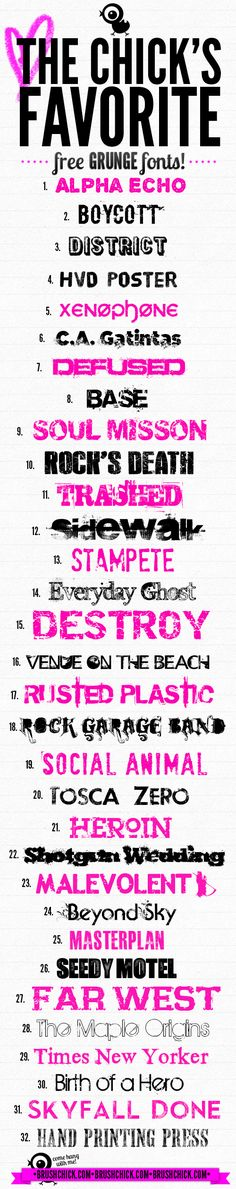 32 FREE Grunge Fonts – Free Font Fridays! http://brushchick.com/32-free-grunge-fonts-free-font-fridays/