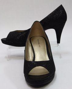 BANDOLINO BDWYLAH, Black Fabric Upper w Accent Foil Peeptoe Pumps Size 10 460091 #Bandolino #OpenToe #Any