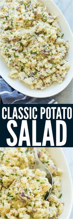 Classic Potato Salad Recipe is cool, creamy, and the perfect side dish for any summer cookout! Easy to make ahead and pairs well with any grilled meat. Loaded Baked Potato Salad, Best Potato Salad Recipe, Creamy Potato Salad, Potato Salad With Egg, Easy Salad Recipes, Side Dish Recipes, Potato Recipes, Drink Recipes, Potato Side Dishes