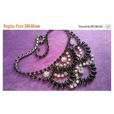 On Sale Black Aurora Borealis Statement Necklace Retro Rhinestone... ($63) ❤ liked on Polyvore featuring jewelry
