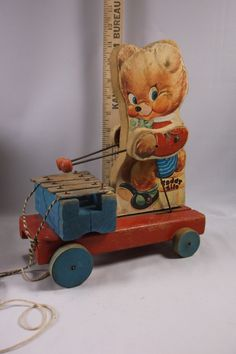 Vintage Fisher Price 777 Teddy Zilo Wooden Xylophone Bear Pull Toy - WORKING.epsteam