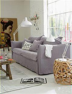 3er Hussen Sofa Flieder oder creme, sie haben die Wahl. Das Hussen Sofa läßt sich im Nu abziehen, und der Bezug kann gewechselt werden.