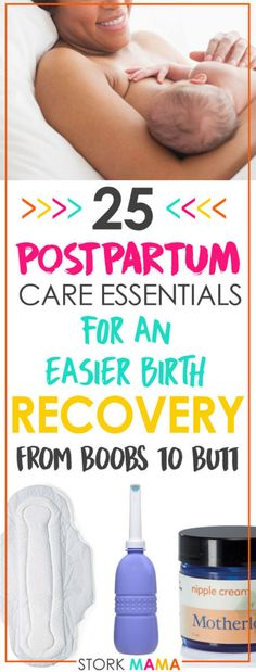 Postpartum Care Essentials for Recovery | Want to make a super quick postpartum recovery? Giving birth takes its toll on your body, so be prepared to let your body heal. You'll leak, bleed, cramp and hurt all over. Check out our essential kit to make your postpartum healing so much easier. Stork Mama