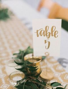 Wedding Decorations gold calligraphy wedding table numbers // handwriting in calligraphy font for wedding decor // table signs for wedding guest tables Wedding Guest Table, Wedding Table Themes, Wedding Centerpieces, Wedding Reception, Wedding Decorations, Table Numbers For Wedding, Wedding Table Signs, Table Decorations, Reception Signs
