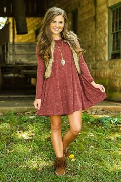 Perfect fall transition outfit! Chic fur vest and comfortable dress. Fringe booties are a must have!