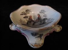 Antique Dishes | ... scaloped china footed pin / trinket dish with Watteau scene. - $65