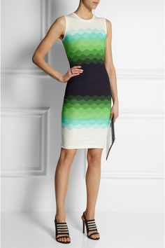 Jonathan Saunders|Wave-print stretch-jersey dress. Wear during the day with black blazer and different shoes :)|NET-A-PORTER.COM