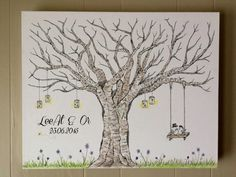 Welcome to Hello Sugar Designs! Thanks for stopping by my shop! My name is Mary Beth and I have had a passion for painting all my life. I have enjoyed creating custom paintings over the years for friends and family and have enjoyed expanding my portfolio internationally through Etsy!   This item is a modern twist on the traditional guestbook. This tree design can be customized to suit your style and event. Each design is hand drawn and painted onto a professional gallery wrapped canvas that…