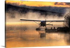 "Photography wall art - ""Floatplane sitting on Beluga Lake, Homer, Kenai Peninsula, Alaska"" by Mike Criss available at Great BIG Canvas. Bush Pilot, Bush Plane, Kenai Peninsula, Pilot License, Float Plane, Private Pilot, Flying Boat, Vintage Airplanes, Aviation Art"