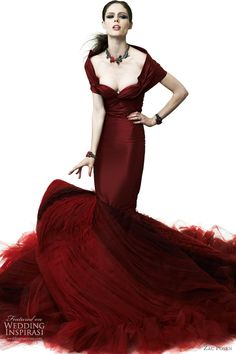 zac posen 2012 red wedding dress