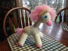"Based on ""My Little Pony"" free crochet pattern from http://www.theyarnbox.com/my-little-pony-toy-crochet-pattern/."