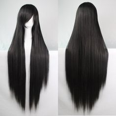 Charming 100CM Long Glossy Straight Side Bang Harajuku Anime Synthetic... ($9.80) ❤ liked on Polyvore featuring costumes, womens costumes, wig costumes, animal halloween costumes, lady costumes and animal costumes