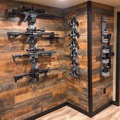 Weapon Storage, Gun Storage, Weapons Guns, Guns And Ammo, Tactical Wall, Tactical Gear, Casa Bunker, Gun Safe Room, Gun Closet