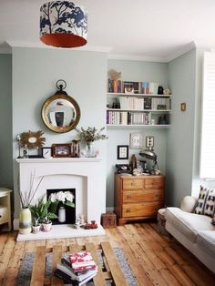 Living Room Makeover: Our Natural History Infused Bohemian Modern Space eclectic modern bohemian vintage interior decor farrow ball teresa's green styling inspiration decor My Living Room, Home And Living, Living Room Wall Colours, Living Area, 1930s Living Room, Living Room Ideas Old House, Living Room Wooden Floor, Living Room Decor Green Walls, 1930s House Interior Living Rooms
