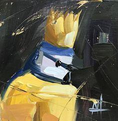 Blue Tit Bird Prince no. 2 Original Oil Painting by Angela