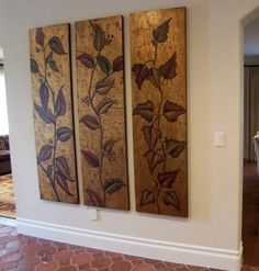 """Luxe XL 70"""" Earth Tone VINE PANELS Hand Painted Painting Artwork Wall Art Set 3"""