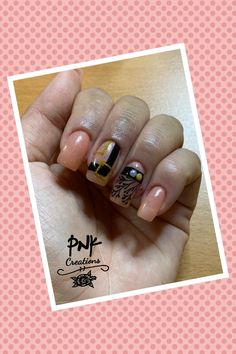 """Catrice morning dew"""", essence black is back"""", gold and pearl decor, glitter striping tape and black stamping nail design Striping Tape, Morning Dew, My Nails, Class Ring, Stamping, Nailart, Nail Designs, Glitter, Pearls"""