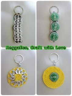 Pop tab + bottle cap Keychains. Created and made by Sunny myself.