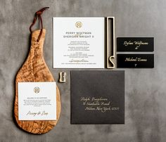 Charcoal Letterpress and Gold Foil on Cream Paper / Wedding Invitation