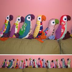 I love the colorful mix of patterns and colors in these plush parrots created by Craftster user Karen_Sweet. Turns out they had a somewhat dubious beginning... About a year ago, I came up with a wa...