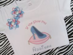 Disney Vacation-Glass Slipper Shirt with Matching Pigtail Bows. $26.50, via Etsy.