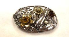 Vintage Jewelry Brooch Sash Pin Flower Motif Amber by SophiesAgora, $35.00