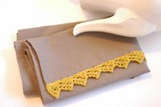 Linen Tea Towel With Knitted Lace Edging - Putty and Mustard - Wedding Gift - Bridal Shower Gift