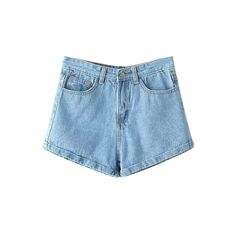 Blue Hemming Denim Shorts ($15) ❤ liked on Polyvore
