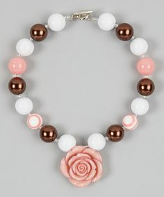 Pink & Bronze Rose Bead Necklace | Daily deals for moms, babies and kids
