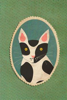 Custom pet portrait, bespoke portrait about your pet. whimsical custom portrait. Kitty cat portrait. Individual pet portrait.