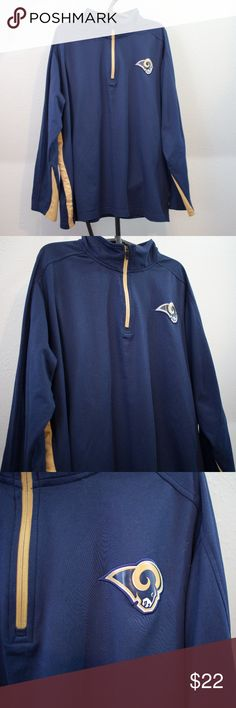 Nike NFL Rams Navy Pullover Size Men s XXL Extremely soft and thick  polyester Nike pullover featuring 617fb846f