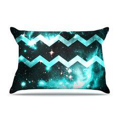 """Alveron """"Aqua Galaxy Chevron"""" Pillow Case"""