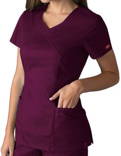 Buy Dickies EDS Signature Stretch Women's Jr. Fit Mock Wrap Scrub Top for $20.99
