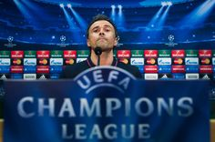Head coach Luis Enrique Martinez of FC Barcelona faces the media during a press conference ahead of their UEFA Champions League semi-final first leg match against FC Bayern München at Ciutat Esportiva on May 5, 2015 in Barcelona, Catalonia.