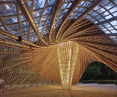 Image 6 of 27 from gallery of Swirling Cloud: Bulletin Pavilion for BJFU Garden Festival / SUP Atelier. Photograph by Su Chen, Chun Fang Parametric Architecture, Bamboo Architecture, Classical Architecture, Amazing Architecture, Architecture Design, Architecture Awards, Bamboo House, Bamboo Garden, Pavillion Design