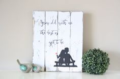 Reclaimed wood wall art - Grow old with me - Pallet wall art - Rustic pallet sign - Wedding Sign - Anniversary Gift - Dandelion wall art