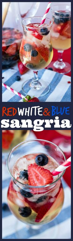 Red White & Blue Sangria - A refreshing white sangria made with dry white wine brandy and tons of strawberries and blueberries. It's the best Patriotic drink to serve for Memorial Day of July and all summer long! Sangria Recipes, Cocktail Recipes, Drink Recipes, Make Sangria, Dinner Recipes, Red Sangria, Margarita Recipes, Alcohol Recipes, Blue Drinks
